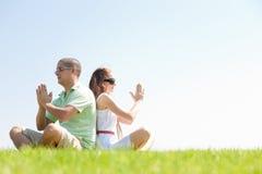 coppie che fanno i giovani meditating Immagini Stock Libere da Diritti