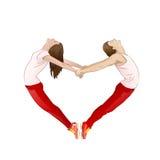 Coppie che formano forma del cuore di un biglietto di S. Valentino con Fotografie Stock Libere da Diritti