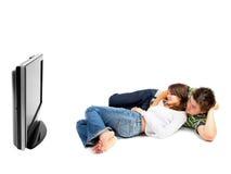 Coppie che guardano TV Fotografia Stock