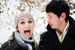 Coppie che hanno divertimento in inverno Immagine Stock
