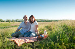 Coppie che hanno picnic Immagini Stock Libere da Diritti