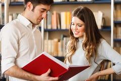 Coppie che leggono un libro in una biblioteca Immagine Stock