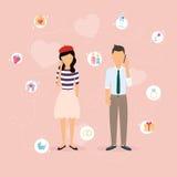 Coppie che parlano su un telefono cellulare Uomo e donna del fumetto nell'amore illustrazione vettoriale