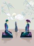 Coppie che praticano Zen Meditation Fotografia Stock