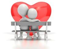 Coppie che si siedono sul banco di sosta dal cuore Fotografie Stock Libere da Diritti