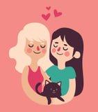 Coppie che tengono il loro gatto illustrazione di stock