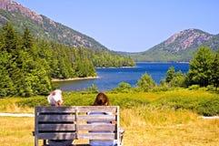 Coppie che trascurano lago scenico Fotografie Stock Libere da Diritti