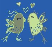 Coppie colorate della molla degli uccelli nell'illustrazione di amore Fotografia Stock