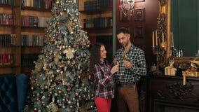 Coppie con champagne vicino all'albero di Natale video d archivio
