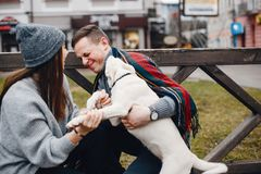 Coppie con il cane fotografia stock