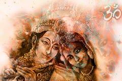Coppie con il simbolo sacro, grafico di radha di Krishna dall'originale dipinto a mano Immagine Stock