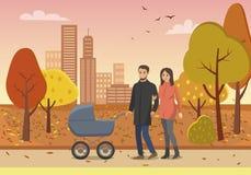 Coppie con la gente della famiglia della carrozzina nel vettore del parco illustrazione vettoriale