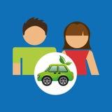 Coppie con progettazione di verde dell'automobile di eco Immagine Stock
