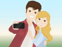Coppie degli amanti che fanno un selfie Fotografia Stock Libera da Diritti