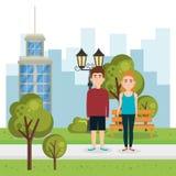 Coppie degli amanti nel parco royalty illustrazione gratis