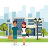 Coppie degli amanti nel parco illustrazione di stock