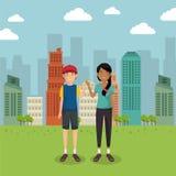 Coppie degli amanti nel parco illustrazione vettoriale