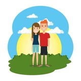 Coppie degli amanti nella scena del campo illustrazione vettoriale