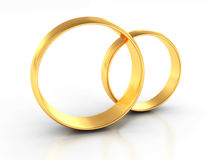 Coppie degli anelli di cerimonia nuziale dell'oro su priorità bassa bianca Fotografie Stock Libere da Diritti