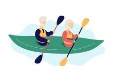 Coppie degli anziani moderni di kayak royalty illustrazione gratis