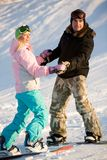 Coppie degli snowboarders fotografia stock libera da diritti