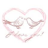 Coppie degli uccelli disegnati a mano nell'amore dentro forma e le parole del cuore ti amo, illustrazione di vettore Immagine Stock