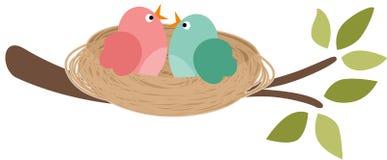 Coppie degli uccelli nel nido royalty illustrazione gratis