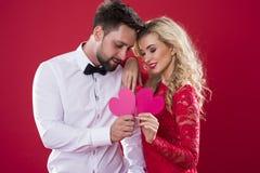 Coppie dei biglietti di S. Valentino Immagine Stock