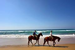 Coppie dei cavalieri del cavallo sulla spiaggia Fotografia Stock
