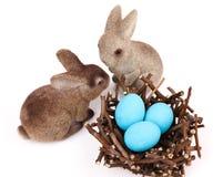 Coppie dei coniglietti di pasqua Fotografia Stock