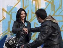 Coppie dei motociclisti Fotografia Stock