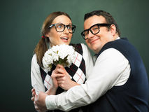 Coppie dei nerd nell'amore Immagini Stock Libere da Diritti