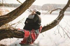 Coppie dei pantaloni a vita bassa che si siedono sull'albero sopra il lago congelato immagini stock