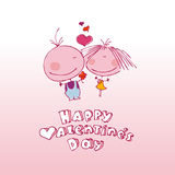 Coppie del biglietto di S. Valentino nell'amore. Immagini Stock