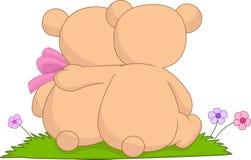 Coppie del fumetto di abbracciare gli orsi illustrazione vettoriale