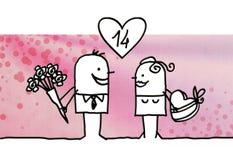 Coppie del fumetto e giorno del ` s del biglietto di S. Valentino illustrazione vettoriale