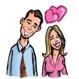 Coppie del fumetto nell'amore Immagini Stock Libere da Diritti