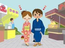 Coppie del kimono nel festival giapponese di estate royalty illustrazione gratis