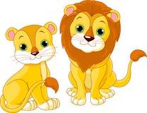 Coppie del leone Immagini Stock
