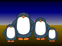 Coppie del pinguino 2 bambini Immagine Stock