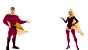 Coppie del supereroe che presentano sul bianco archivi video