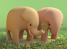 coppie dell'elefante 3D nell'amore Immagini Stock Libere da Diritti