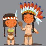 Coppie dell'nativo americano di giorno di ringraziamento Fotografia Stock Libera da Diritti