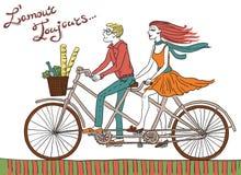 Coppie della bici dei pantaloni a vita bassa Fotografia Stock