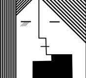 Coppie della gente nella forma geometrica, concetto di bacio in bianco e nero, royalty illustrazione gratis