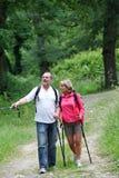 Coppie della gente senior che fa un'escursione in sentiero nel bosco Fotografia Stock Libera da Diritti