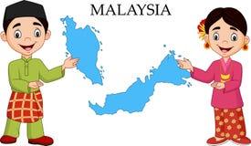 Coppie della Malesia del fumetto che portano costume tradizionale illustrazione vettoriale