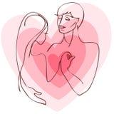 Coppie della siluetta con cuore Fotografia Stock