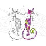 Coppie della siluetta dei gatti per il vostro disegno Immagini Stock Libere da Diritti