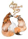 Coppie delle volpi nell'amore su fondo bianco con il ` felice di giorno del ` s del biglietto di S. Valentino del ` del segno Fotografia Stock Libera da Diritti